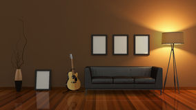 Modern interior room 3D with nice furniture inside Stock Images