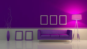 Modern interior room 3D with nice furniture inside Royalty Free Stock Photography