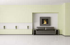 Modern interior with fireplace 3d render Royalty Free Stock Photos