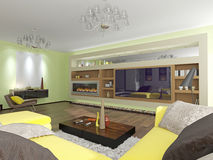Modern interior room. With fireplace and TV Stock Photos