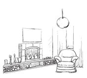 Modern interior room sketch. Hand drawn fireplace. Modern interior room sketch. Hand drawn fireplace and furniture Stock Photos