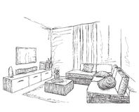Modern interior room sketch. Hand drawn furniture. Royalty Free Stock Photo