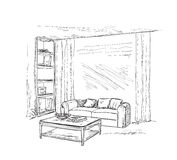 Modern interior room sketch. Hand drawn furniture. Royalty Free Stock Photography