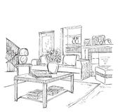 Modern interior room sketch. Royalty Free Stock Photos