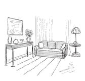 Modern interior room sketch. Royalty Free Stock Image