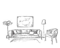 Modern interior room sketch. Stock Image