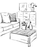 Modern interior room sketch. Hand drawn sofa and table. Stock Photos