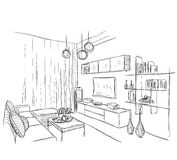 Modern interior room sketch. Royalty Free Stock Images