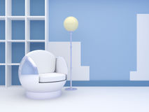 Modern interior with round chair Royalty Free Stock Photo