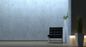Modern interior scene with chair. 3d render modern scene with chair Royalty Free Stock Image