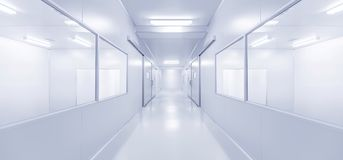 Modern interior science laboratory or factory background. With lighting in monotone Stock Photography