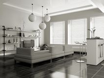 Modern interior (sepia) Royalty Free Stock Photography