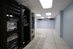 Modern interior of server room. In datacenter Stock Photo