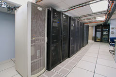 Modern interior of server room. In datacenter royalty free stock image
