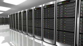 Modern interior of server room in datacenter stock video