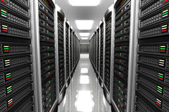 Modern interior of server room in datacenter Royalty Free Stock Photo