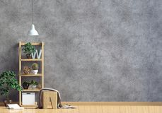 Modern interior with shalf, plant and lamp. Wall mock up. 3d ill Royalty Free Stock Photos