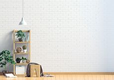 Modern interior with shalf, plant and lamp. Wall mock up. 3d ill Royalty Free Stock Image