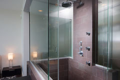 Modern interior shower by the bedroom Stock Image