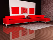 A modern interior with a  sofa Royalty Free Stock Photography