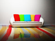 A modern interior with a sofa Stock Photos