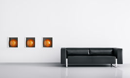 Modern interior with sofa 3d render. Modern interior of room with black sofa 3d render Stock Photo