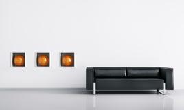 Modern interior with sofa 3d render. Modern interior of room with black sofa 3d render Royalty Free Illustration