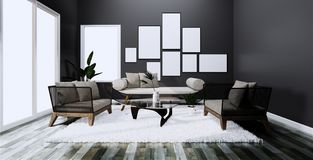 Modern interior with sofa and arm chair on room dark Wall and floor wooden tiles. 3D rendering. Mock up Modern interior with sofa and arm chair on room dark Wall stock illustration