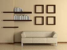 Modern interior with sofa, book shelves. 3D. Stock Images