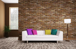 Modern interior with sofa 3d render Stock Photos