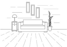 Modern interior. Sofa, floor lamp and bedside table. The clock hangs on the wall. In front of the sofa is a carpet. Vector illustr Stock Photo