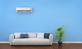 Modern interior with sofa, plant and air conditioner. 3d illustration Royalty Free Stock Photography