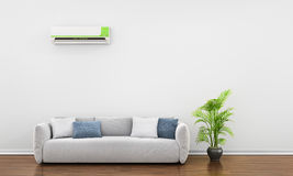 Modern interior with sofa, plant and air conditioner. Stock Photos