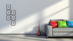 Modern interior with sofa Stock Images