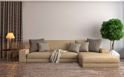 Modern interior with sofa under the water. 3d illustration Stock Images