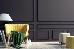 Modern interior with sofa. Wall mock up. 3d illustration stock illustration