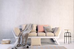 Modern interior with sofa. Wall mock up. 3d illustration vector illustration