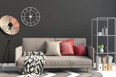 Modern interior with sofa. Wall mock up. 3d illustration royalty free illustration