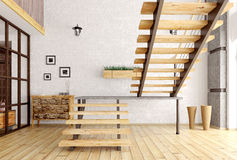 Modern interior with staircase 3d render Royalty Free Stock Image