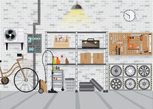 Modern interior storage room with metal shelf. Modern interior storage room with metal shelf, storage box on the wall, flat design vector illustration Royalty Free Stock Image