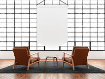 Modern interior studio loft huge panoramic window,natural color floor.Generic design furniture in contemporary business Royalty Free Stock Images