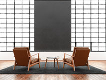 Modern interior studio loft huge panoramic window,natural color floor.Generic design furniture in contemporary business Royalty Free Stock Image