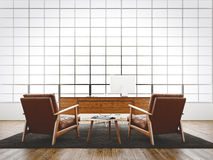 Modern interior studio loft huge panoramic window,natural color floor,white blank walls.Generic design furniture Royalty Free Stock Images