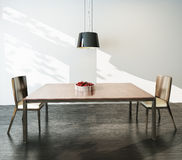 Modern interior table and chairs Stock Photos