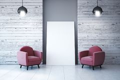 Modern interior with empty poster royalty free illustration