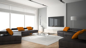 Modern interior with two sofas and ornge pillows 3D rendering Stock Images