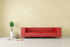Modern interior with venetian stucco wall. Modern interior with sofa and bonsai Royalty Free Stock Photography