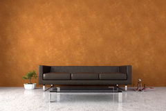 Modern interior with venetian stucco wall. Modern interior with sofa and bonsai Stock Photo