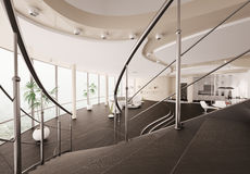 Modern interior view from staircase 3d render Royalty Free Stock Photos
