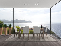 Modern interior with a view to the sea Stock Photo